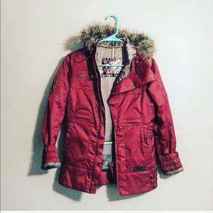 Burton XS burgundy parka coat